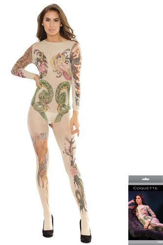 Body Stocking ouvert Tattoo Print Coquette
