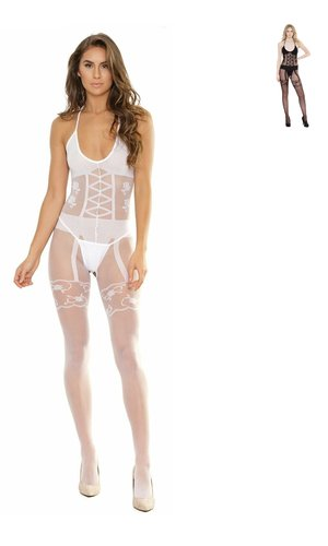 Body Stocking Faux Lace Up ouvert Coquette